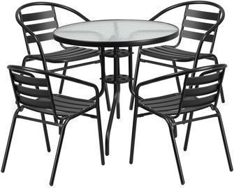 Flash Furniture 31.5 Round Glass Metal Table w/ 4 Chairs