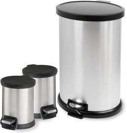 Mainstays 3pc. Stainless 1.3 Gal/8 Gal (3) Waste Can Combo