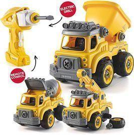 Top Race 3-1 RC Battery Powered DIY Construction Trucks Set