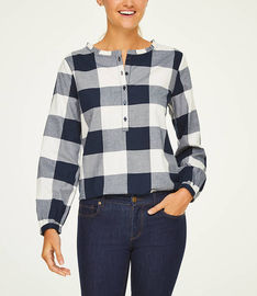 Plaid Ruffle Henley Tunic Shirt