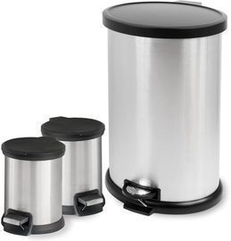 Mainstays 3-Piece Stainless Steel Waste Can Combo