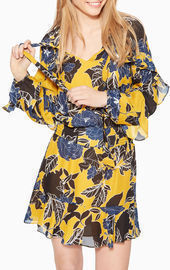 Ruffle Sleeve Smocked Waist Floral Dress