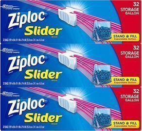 Ziploc Gallon Slider Storage Bags, 32 ct (Pack of 3)