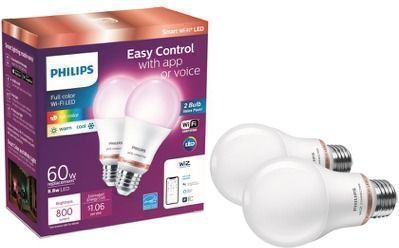 Philips Color & Tunable A19 Dimmable Smart Light Bulb 2-Pack