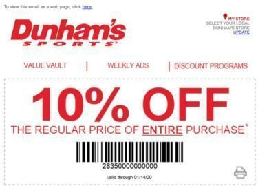 Dunham's Sports - 10% Off All Regular Price Items