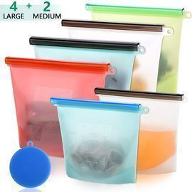 Broom Reusable Silicone Food Storage Bags 6-Pack