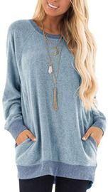 Beyove Women's Color Block Long Sleeve Pocket Sweatshirt
