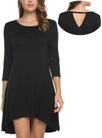 ELESOL Women's 3/4 Sleeve Solid T-Shirt Dress