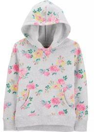 Girls' Floral Fleece Hoodie