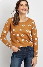 Flower Rib Trim Pullover Sweater