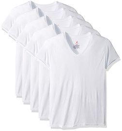 Hanes Men's 5-Pack ComfortBlend V-Neck T-Shirt, Large