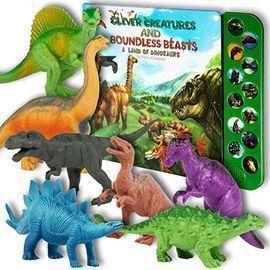 Li'l Gen 12pk Animal Dinosaur Figures w/ Dinosaur Sound Book