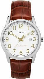 Timex Men's Easy Reader 38mm Date Watch w/ Leather Strap