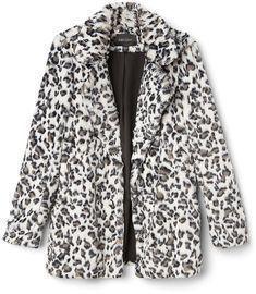 Snow Leopard Faux Fur Jacket
