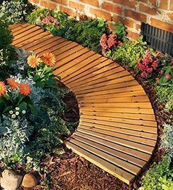 Plow and Hearth Roll Out Wooden Curved Garden Pathway
