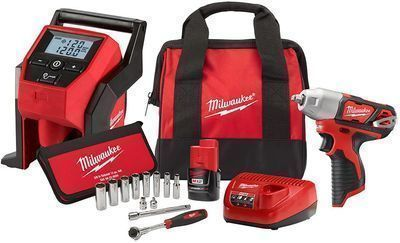 Milwaukee M12 3/8 Impact Wrench, Inflator, and Socket Set
