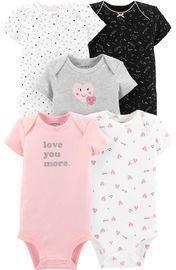 Baby Girls Carter's 5-pack Heart Original Bodysuits