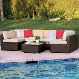 Modular 7-Piece Wicker Sectional Conversation Set w/ Cover