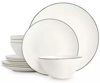 Hotel Collection Black Line 12-Pc. Dinnerware Set