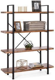 4-Shelf Industrial Open Bookshelf
