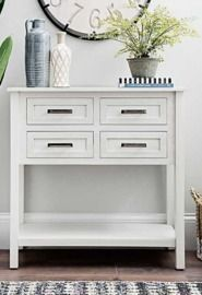 Cream Beaded 4-Drawer Console Table
