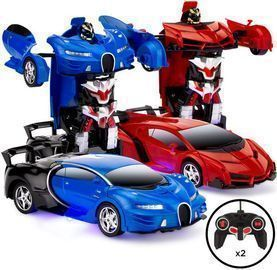 2 Remote Control Transforming Robot Car Toys