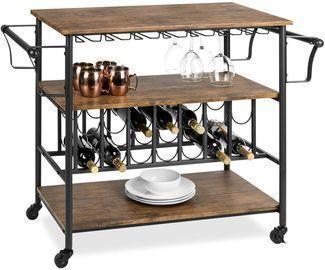 45 Industrial Wood Shelf Bar & Wine Cart