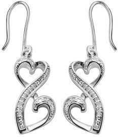 Love Is Forever Sterling Silver Diamond Drop Earrings