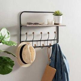 Wooden Shelf w/ Knob Hooks