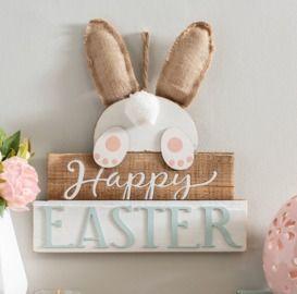 Happy Easter Pom Pom Tail Wall Plaque