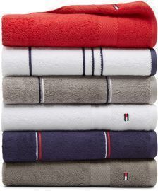 Tommy Hilfiger Cotton Mix and Match Bath Towel Collection