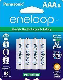 Panasonic eneloop AAA Ni-MH Rechargeable Batteries, 8pk
