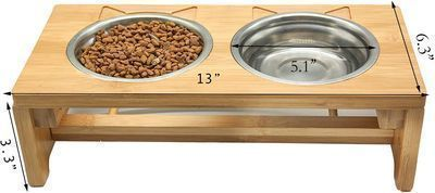 Bamboo Elevated Pet Food and Water Bowls