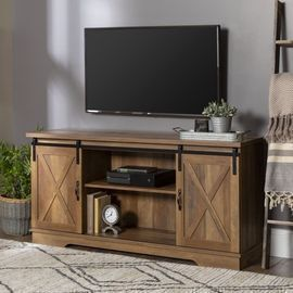 Manor Park Modern Farmhouse Sliding Barn Door TV Stand