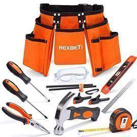 REXBETI 15pcs Young Builder's Tool Set
