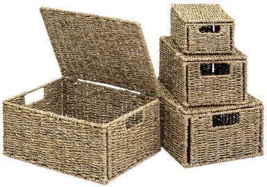 Set of 4 Seagrass Storage Baskets w/ Lids