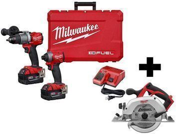 Milwaukee M18 Fuel 18V Hammer Drill/Impact Driver Kit + Saw