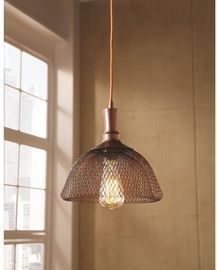 Double Frame Bronze Pendant Light w/ Metal Shade by HDC