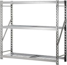 Muscle Rack 77W x 24D x 72H 3-Shelf Storage Rack, Silver