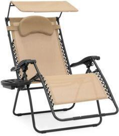 Oversized Zero Gravity Chair w/ Folding Canopy Shade