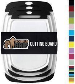 Gorilla Grip Original Oversized Cutting Board, 3 Pc Black
