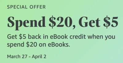 Amazon - Spend $20, Get $5 on eBooks (Select Customers)