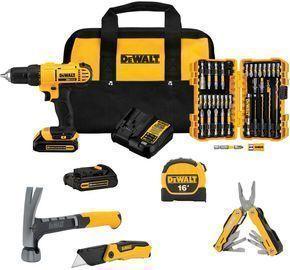 DeWalt 20V 1/2 Drill/Driver and Hand Tools Bundle