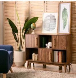 6-Shelf Multipurpose Wood Entryway Storage Display Stand