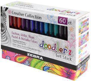 Zebra Pen Doodlerz Gel Stick Pen Mega Set, Assorted, 60ct