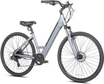 Kent 350W Step Through Electric Bike (700c, Gray/Aqua)