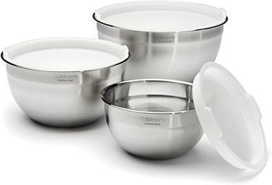 Cuisinart Stainless Steel Mixing Bowls w/ Lids, Set Of 3