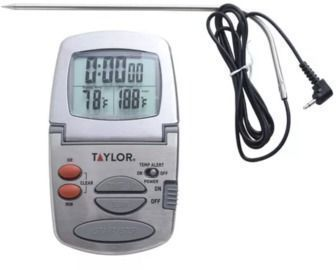 Taylor Gourmet Programmable Stainless Steel Probe Kitchen Thermometer