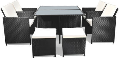 9pc Patio Rattan Dining Set w/ Glass Table Top