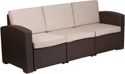 HOT! Flash Furniture Faux Rattan Sofa with All-Weather Beige Cushions